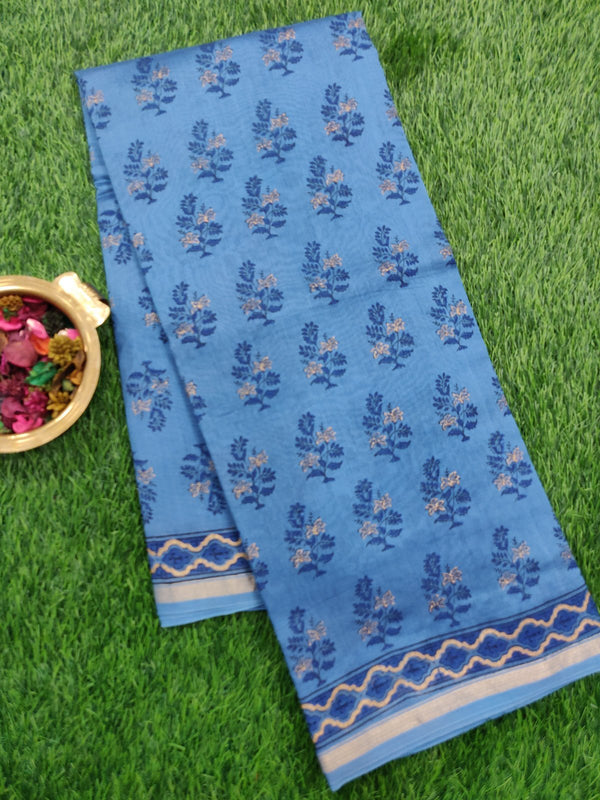 Chanderi Bagru Printed Saree blue all over foral buttas with piping zari border