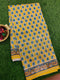 Chanderi Bagru Printed Saree yellow mango prints with piping zari border
