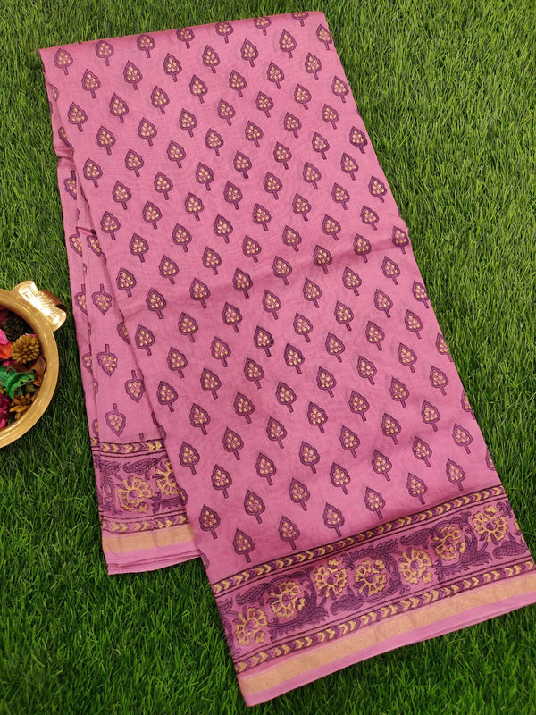 Chanderi Bagru Printed Saree onion pink all over prints with piping zari border