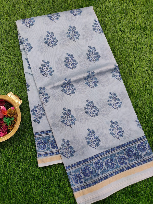 Chanderi Bagru Printed Saree light blue floral prints with piping zari border