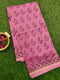 Chanderi Bagru Printed Saree onion pink floral prints with piping zari border