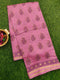 Chanderi Bagru Printed Saree onion pink with floral buttas with piping zari border