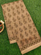 Chanderi Bagru Printed Saree beige floral gold prints with piping zari border