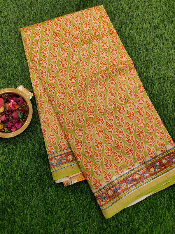 Chanderi Bagru Printed Saree green leaf all over prints with piping zari border