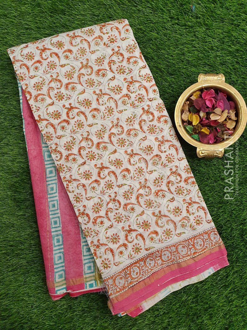 Chanderi Bagru Printed Saree off white and pink floral print with golden zari border