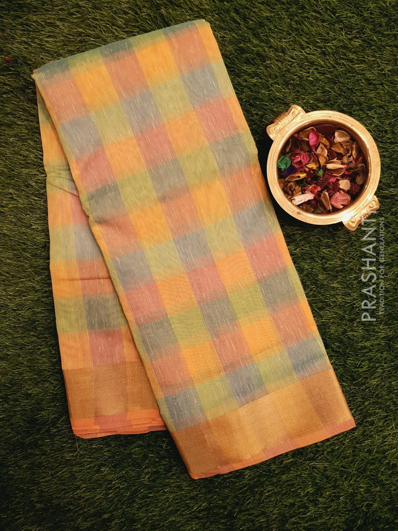 Chanderi Saree multi colour with checked pattern and zari border