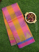 Chanderi Saree pink and purple with checked pattern and temple zari border