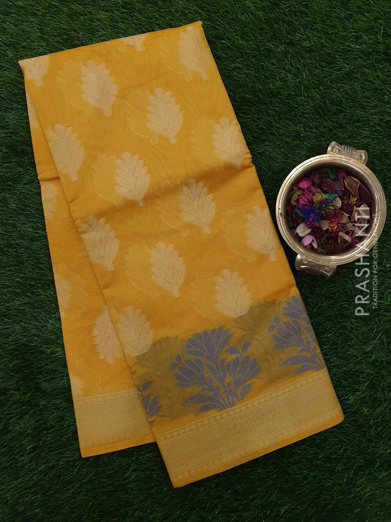 Chanderi Saree yellow with zari and thread woven temple border
