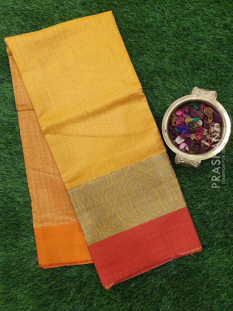 Chanderi Saree yellow and red with thread woven border