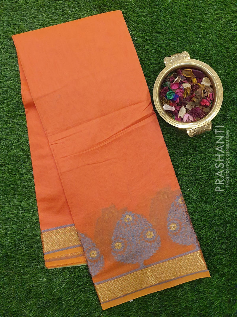 Chanderi Saree peach orange with thread woven buttas and zari border