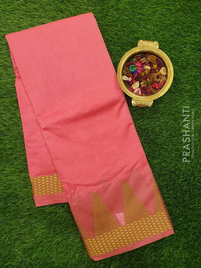 Chanderi Saree lotus pink with thread woven temple border