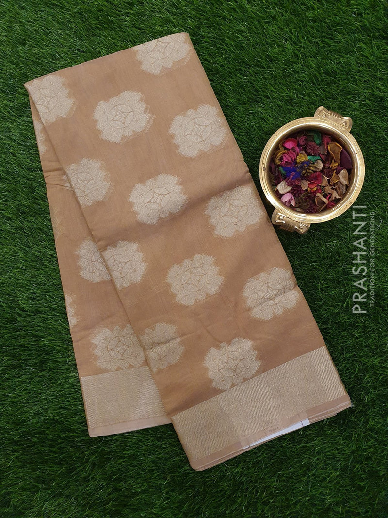Chanderi Saree beige with zari butta and zari border