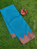 Chanderi saree CS Blue with thread woven temple border