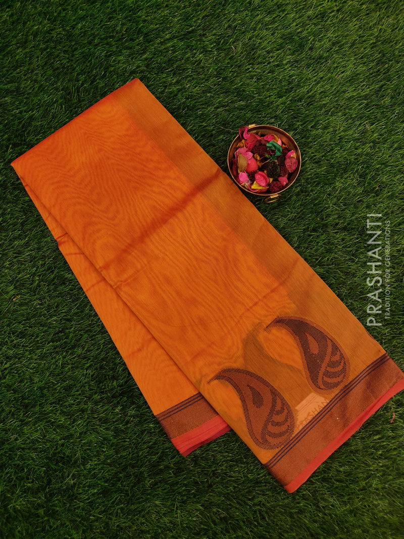 Chanderi saree Mustard yellow with thread woven mango buttas