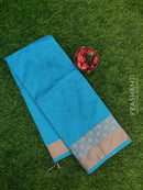Chanderi saree CS Blue with floral thread borer