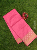 Chanderi saree Candy Pink with leaf thread border