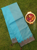 Chanderi saree Blue with temple thread border