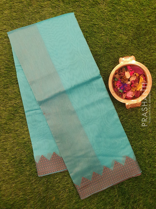 Chanderi saree Teal blue with temple thread border
