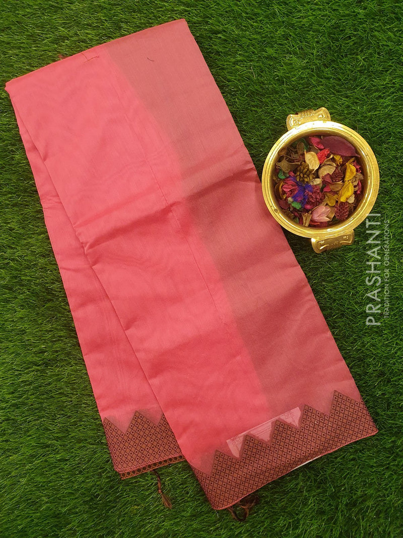 Chanderi saree Pink with temple thrad border