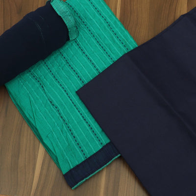 Dress Material - Green and Navy Blue Cotton top with embriodery dupatta