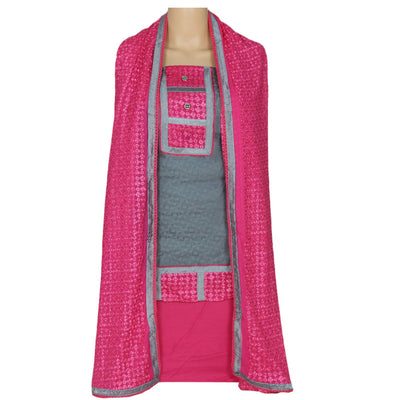 Dress Material - Grey and Pink with embroidery dupatta