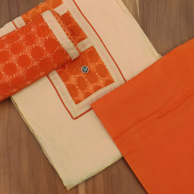 Dress Material - Sandal and Orange with embroidery dupatta
