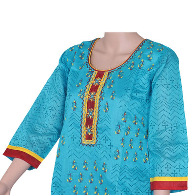 Chanderi Kurta Blue with leaf print