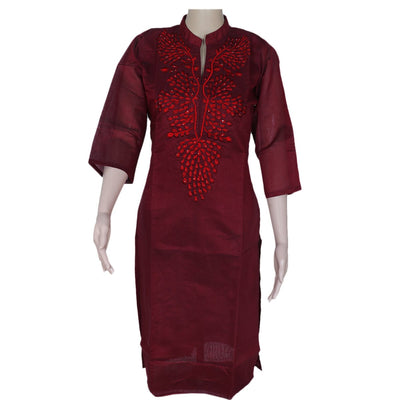 Chanderi Kurta Maroon with embroidery work