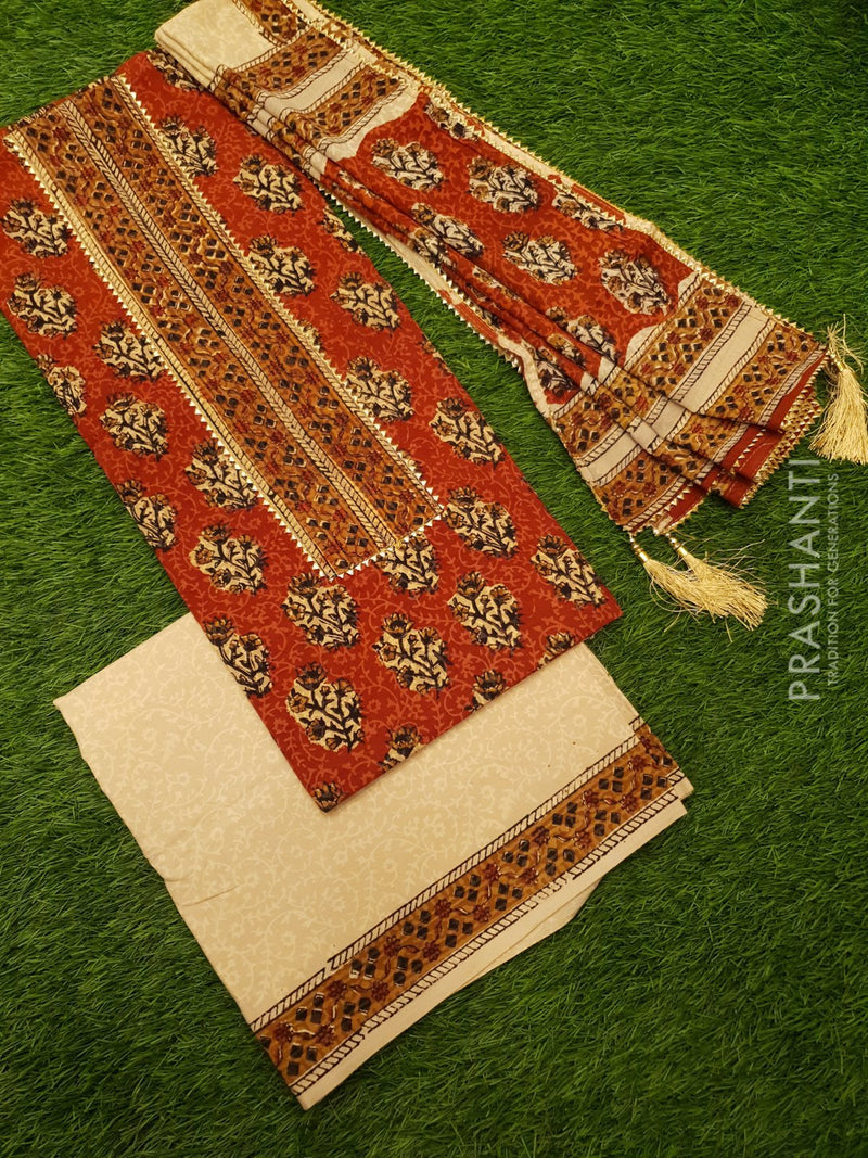 Jaipur Cotton dress material maroon and beige with floral prints and gota patti work