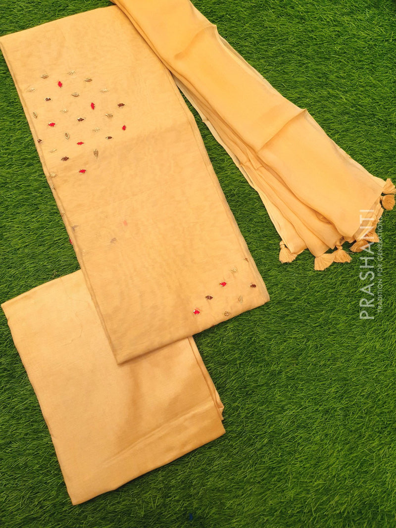 Chanderi dress material beige with hand embroided and chiffon embroided dupatta