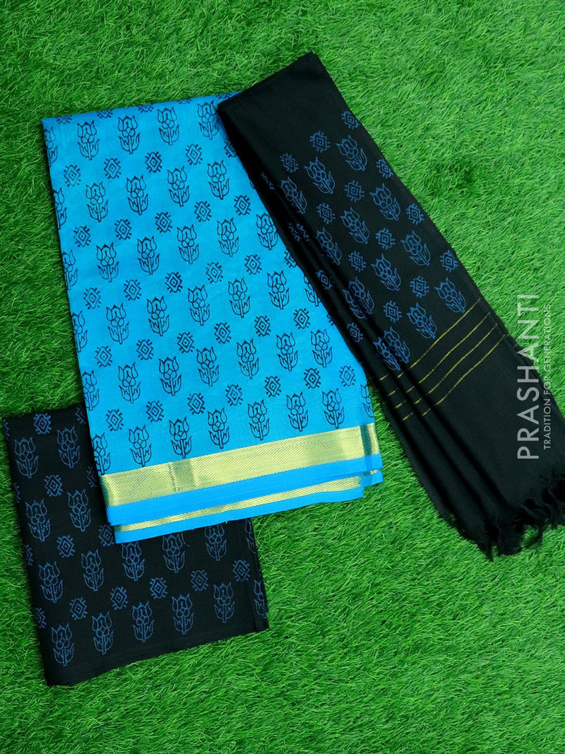 Silk cotton dress material CS blue and black with hand block prints and cotton dupatta
