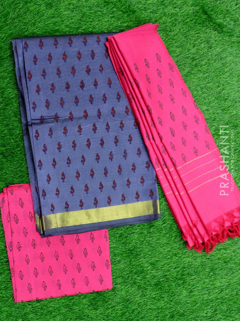 Silk cotton dress material grey and pink with hand block prints and cotton dupatta