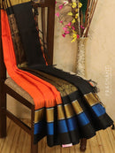 Kuppadam Silk Cotton Saree orange and black with simple zari woven temple border