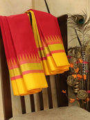 Kuppadam Silk Cotton Saree red and yellow with simple zari woven temple border