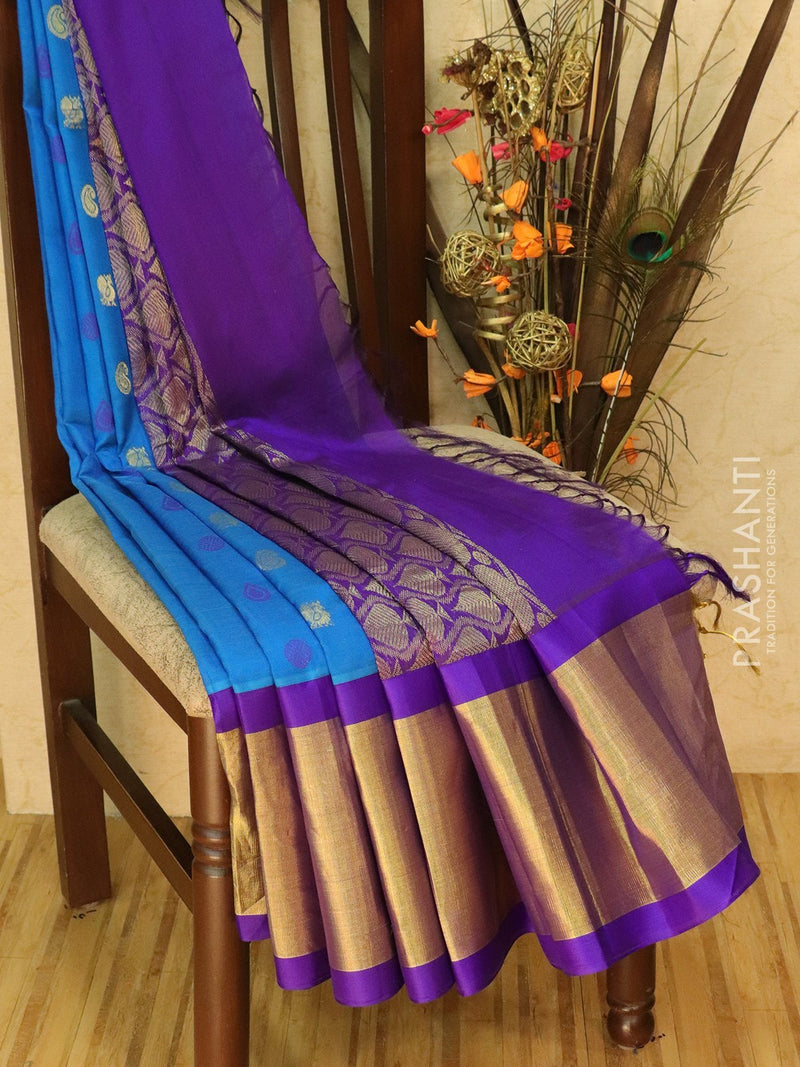 Kuppadam Silk Cotton Saree blue and violet with thread and zari woven buttas and border