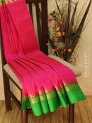Kuppadam Silk Cotton Saree pink and green with simple zari woven temple border