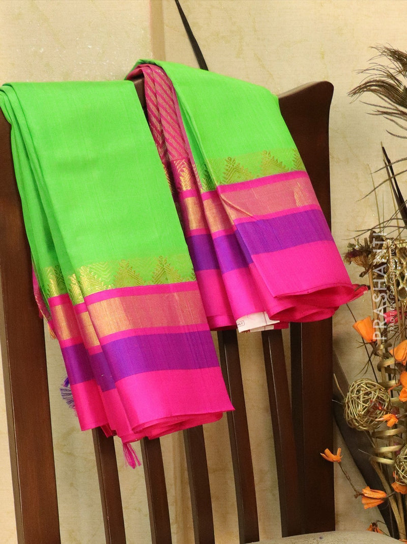 Kuppadam Silk Cotton Saree green and pink with simple zari woven temple border