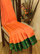 Kuppadam Silk Cotton Saree peachish orange and green with ikkat border