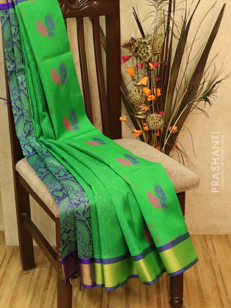 Silk Cotton Saree green and violet with thread woven floral buttas and golden zari border