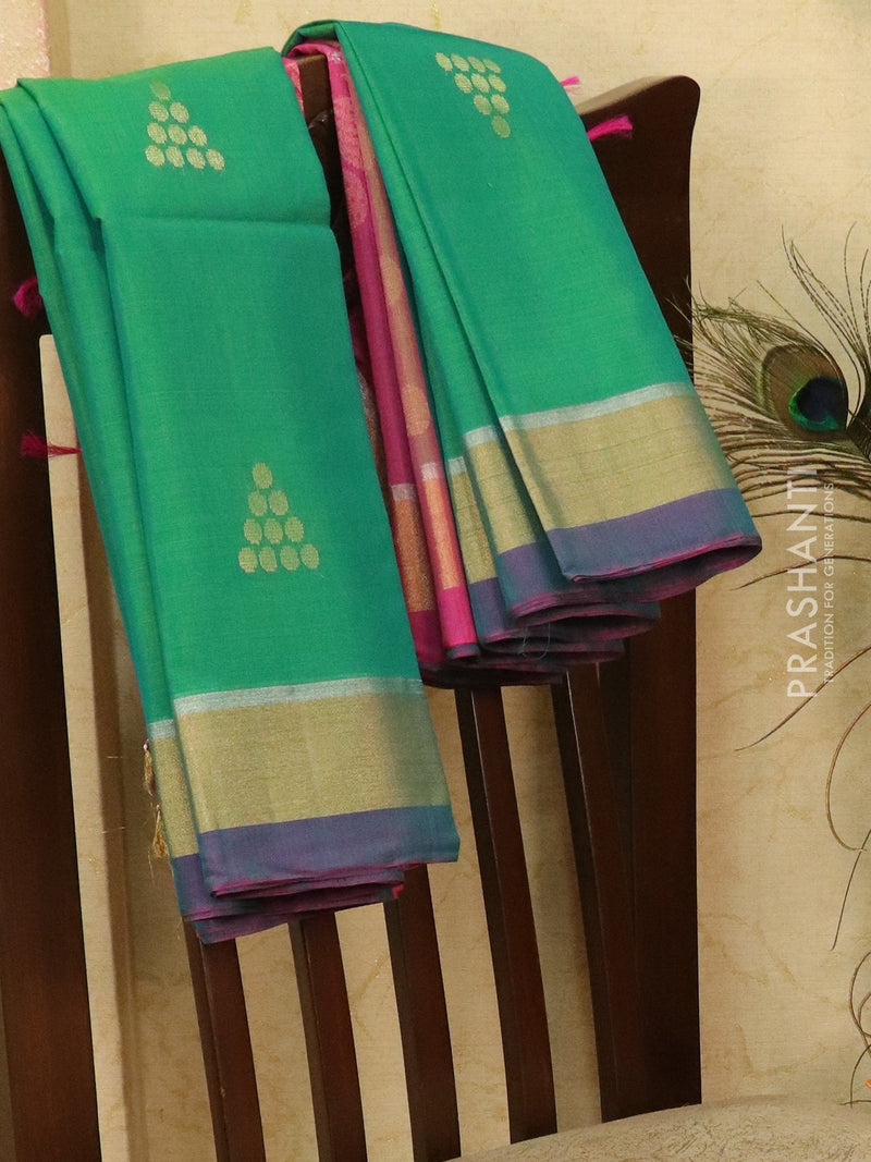 Kora silk cotton saree green and pink with woven buttas and rich pallu
