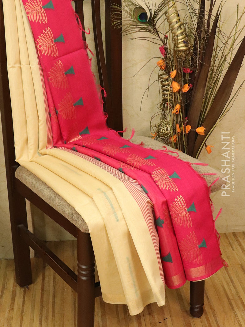 Kora silk cotton saree sandal and pink with woven buttas and rich pallu