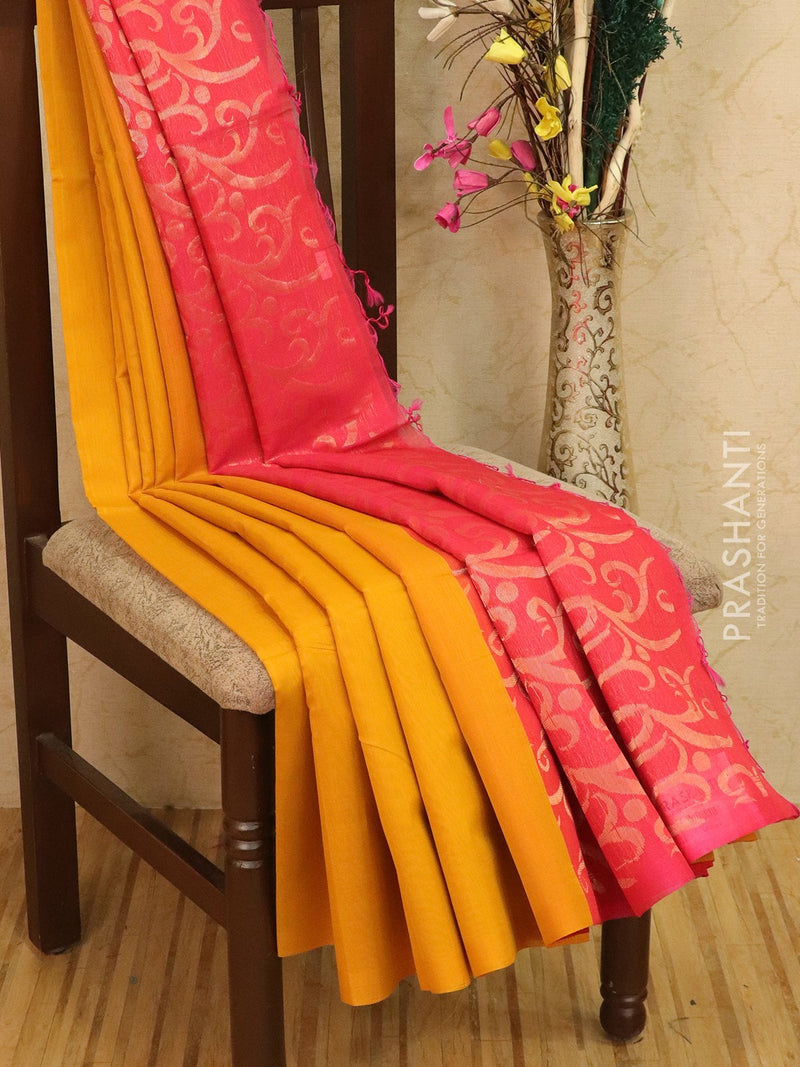 Kora silk cotton saree yellow and pink with woven buttas and rich pallu