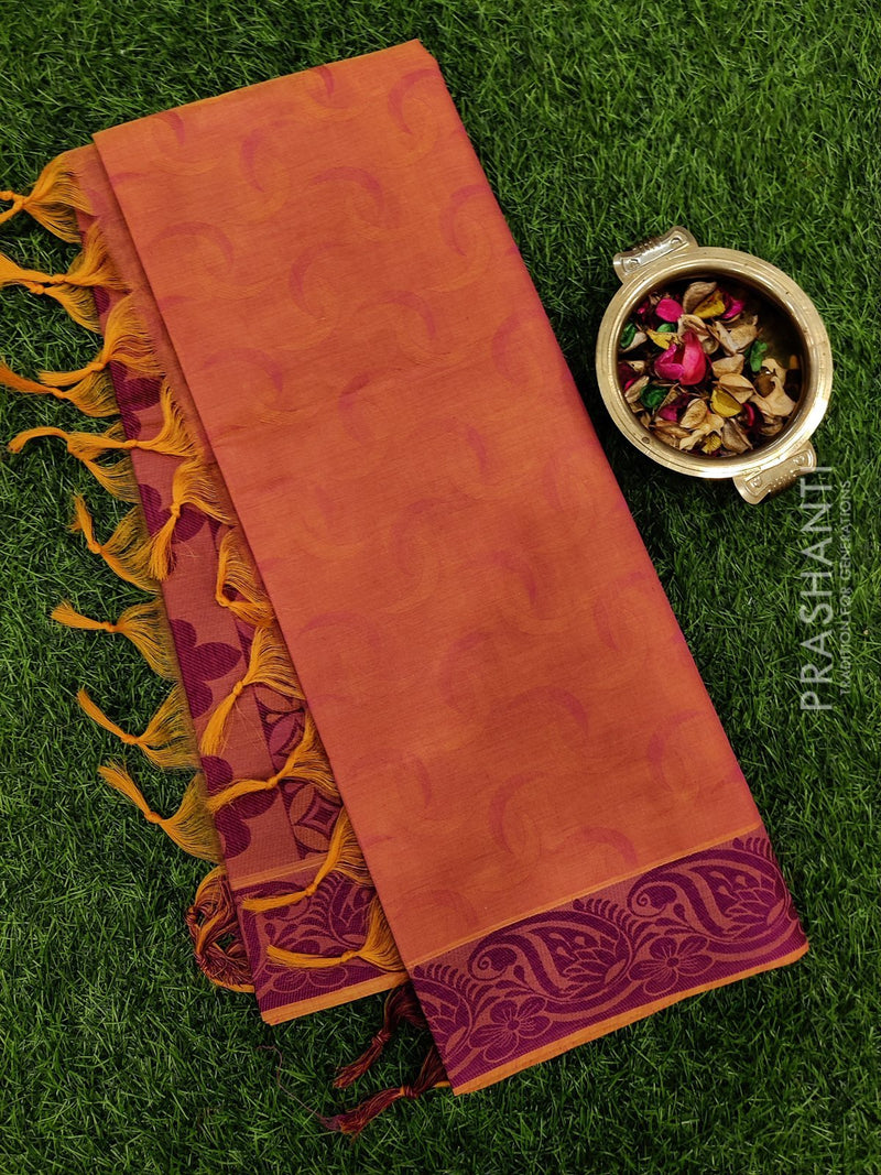 Coimbatore Cotton Saree peach and pink with allover thread emboss and woven border
