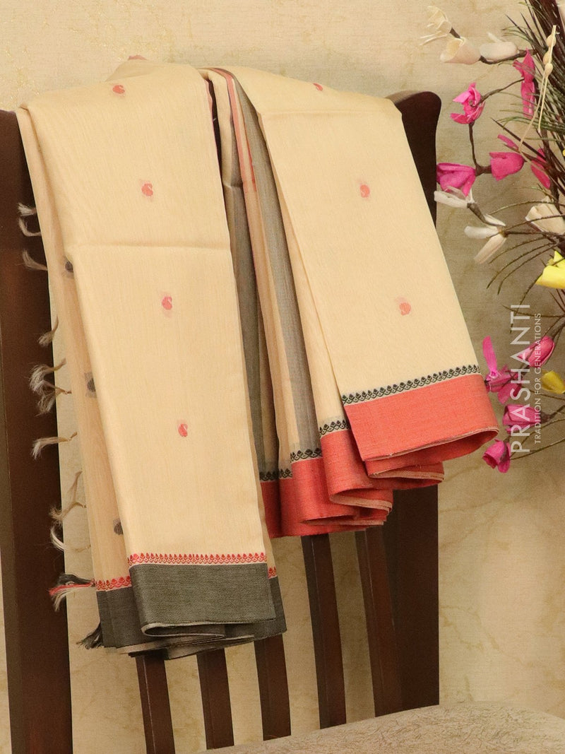 Kora silk cotton saree beige and black with body buttas and zari border