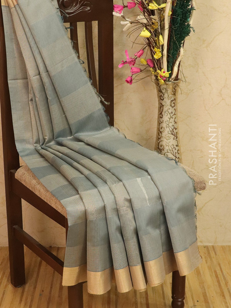 Kora silk cotton saree grey with zari checks and border