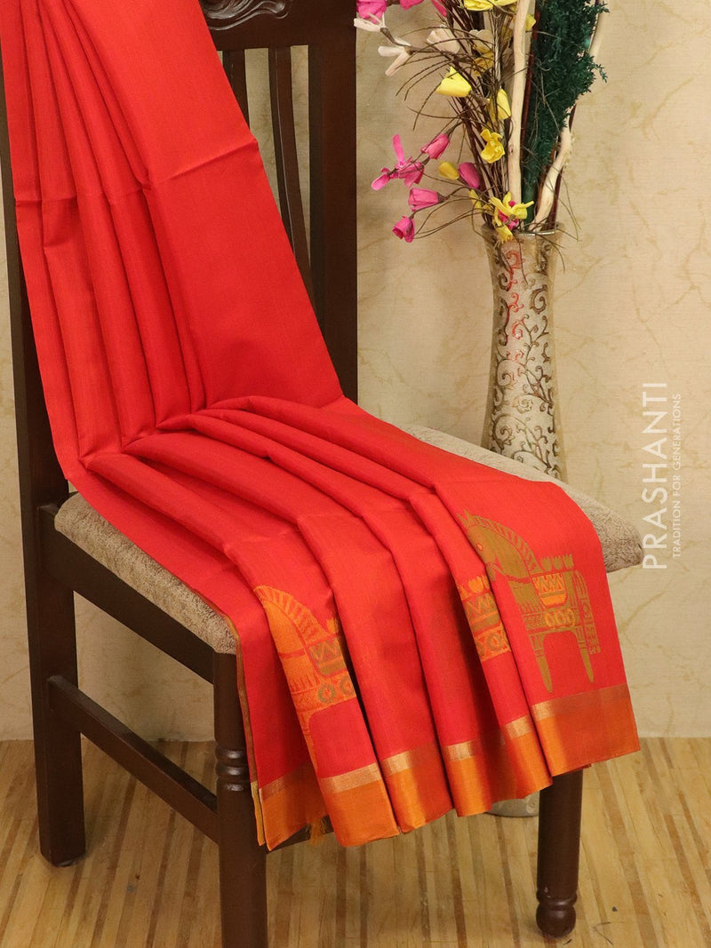 Kora silk cotton saree red and mustard with body buttas and simple border
