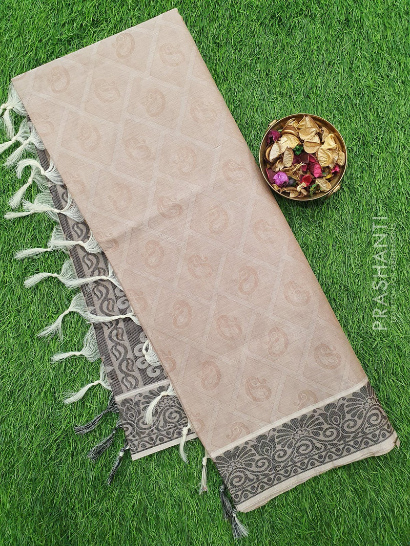 Coimbatore Cotton Saree pastal brown shade and black with allover thread emboss and woven border