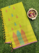 Handloom Cotton Saree lime green and pink with thread woven buttas and piping border
