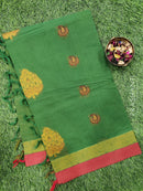 Handloom Cotton Saree green and rust with thread woven buttas and simple border