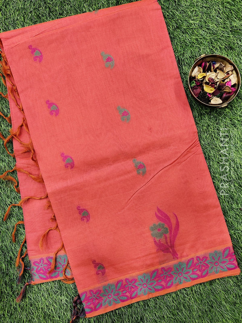 Handloom Cotton Saree peachish orange and pink with thread woven buttas and thread woven border